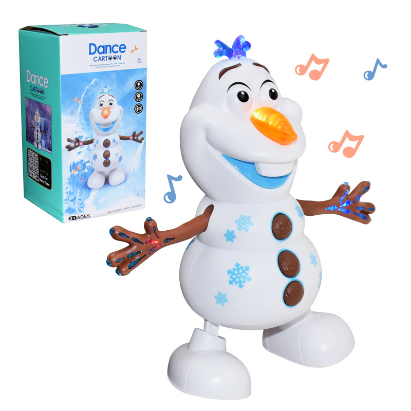 Disney Frozen 2 Dancing Snowman Olaf Robot With Led Music Flashlight Electric Action Figure Model Kids Toys For Children Gift