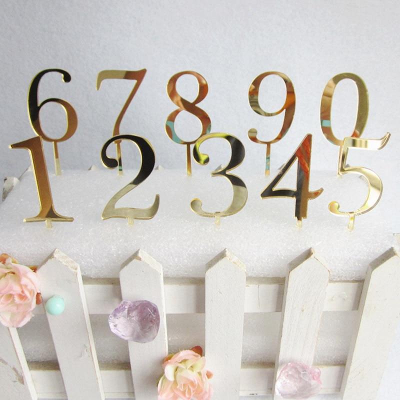 0 ~ 9 números de bolo acrílico, espelhado de ouro, aniversário, cupcake, brinquedo para crianças, aniversário de casamento, decorações de bolo