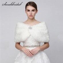 Ucuz renkli kadın düğün ceketler 2021 beyaz siyah Faux kürk Bolero gelin şal sarar Shrug kış akşam parti ceket 17012