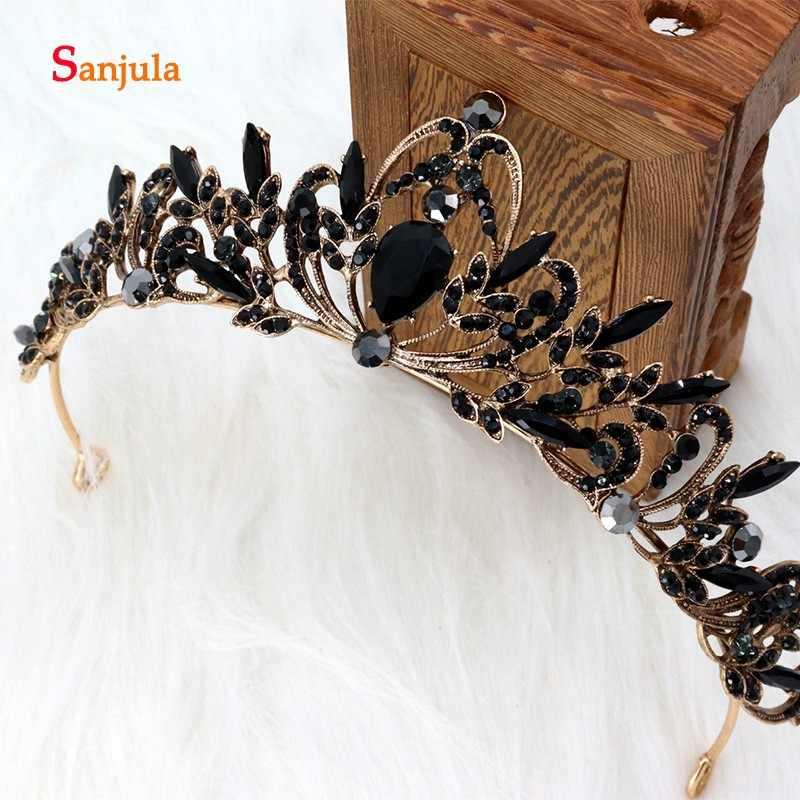 Тиары и короны для невесты, Свадебная вечеринка, украшения для волос, черный бисер, для девочек, нарядные вечерние головные уборы, свадебные украшения, H350