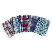 Высококачественные Брендовые мужские шорты-боксеры, тканые, хлопковые, 100% классические, клетчатые, чёсаные, мужские трусы, свободные, дышащ...