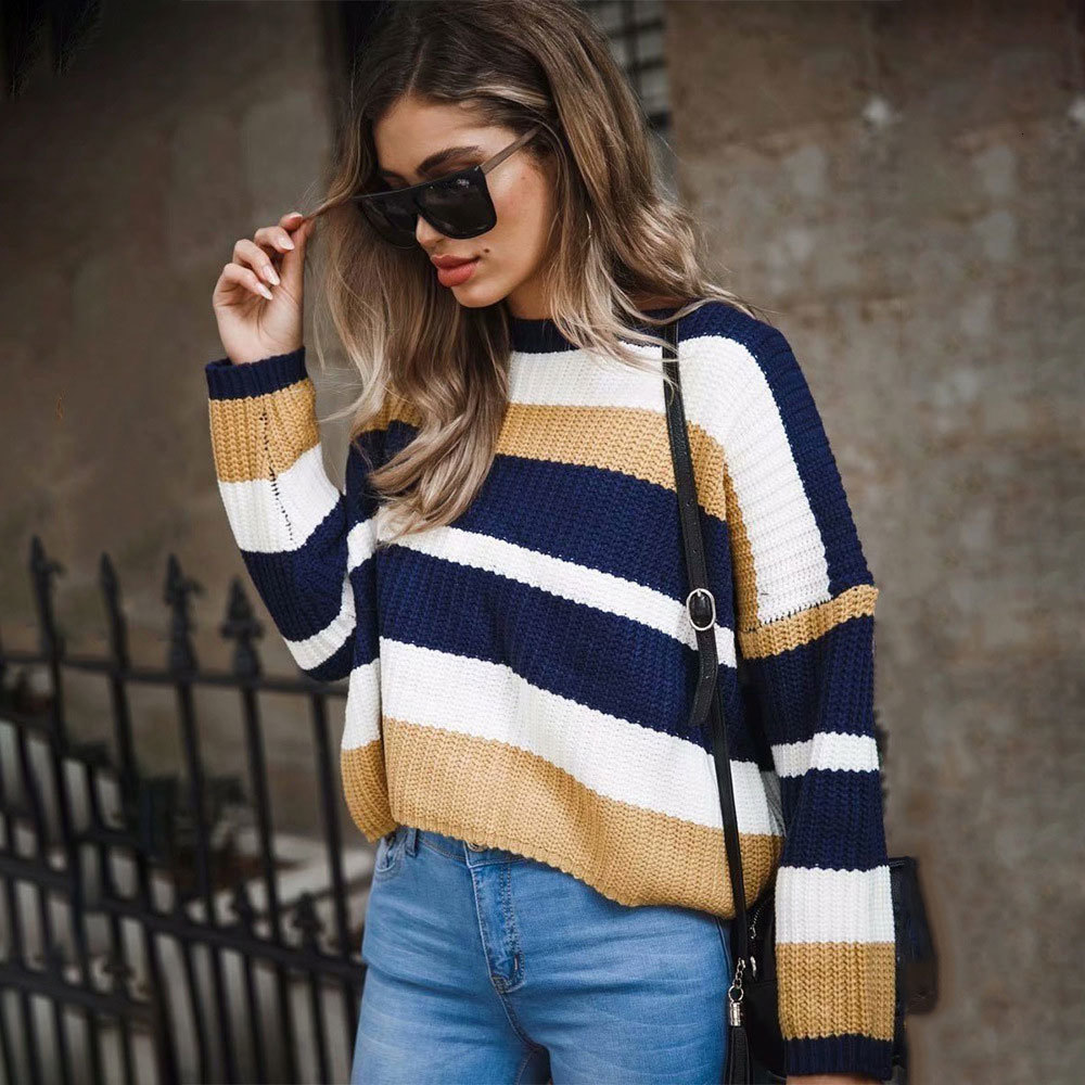 2019 NEW Arrivals Women Sweater Harajuku Causal Fashion Vintage Striped Sweater Oversize Patchwork Knit Pullover Sweater