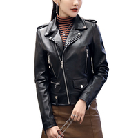 2020 Spring Women's Genuine Sheepskin Leather Jacket With Rivet New Motorcycle Biker Real Leather Coat Sheep Leather S8004