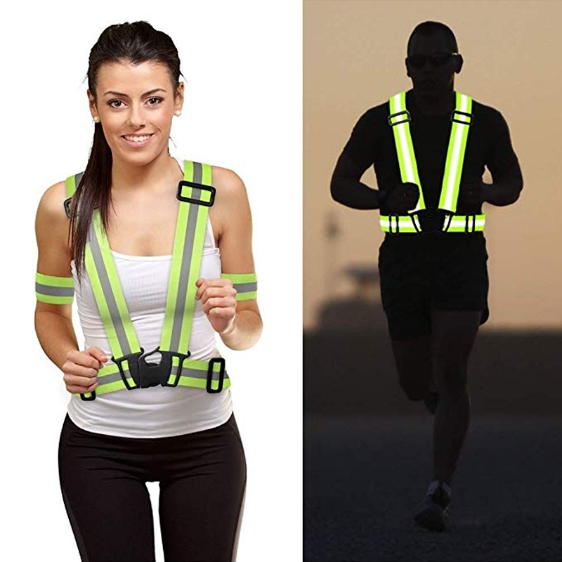 Adjustable Safety Security High Visibility Reflective Vest Gear Stripes Night Running