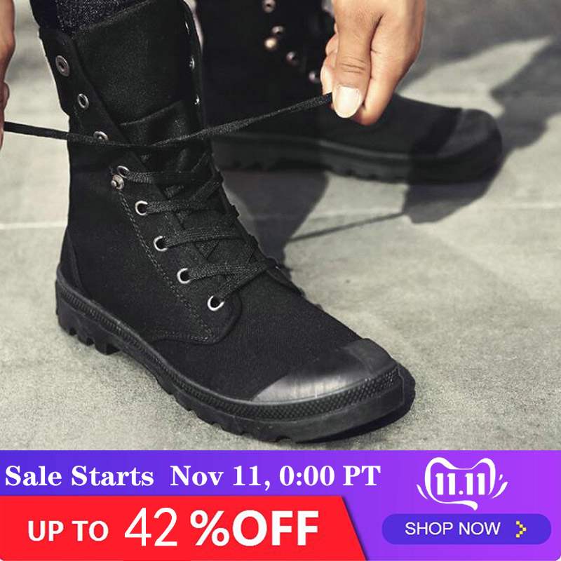 New Fashion All Black Men Casual  Canvas Flats Shoes Boys Tenis High Top Outdoor Non-slip Sneakers Shoes Military Boots LF-84