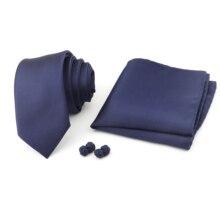 Men's Tie&Cufflinks Set 6cm Groom Formal Narrow Tie