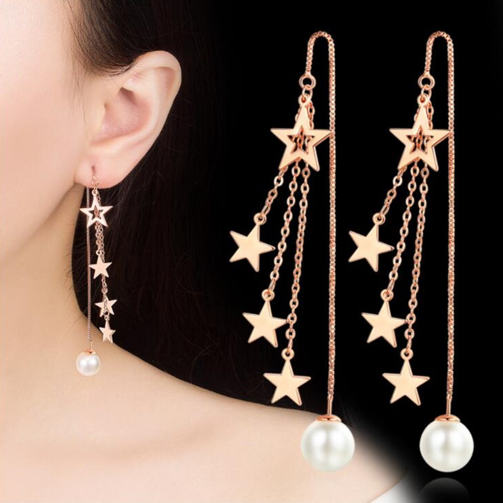 NEHZY 925 sterling silver new Jewelry new woman fashion gold and silver earrings long tassel five-pointed star round retro