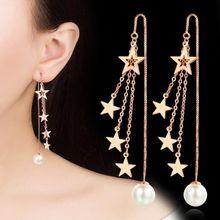 NEHZY 925 sterling silver nuovi Monili di nuovo di modo della donna in oro e argento orecchini lunghi della nappa stella a cinque punte rotonda retro