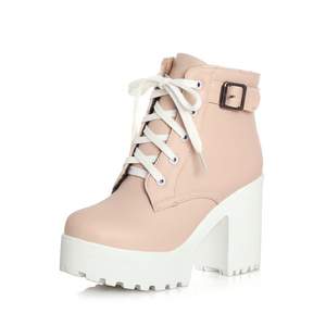 Image 4 - Autumn Winter Martin Boots Boots Women Round Toe Buckle Shoes Women High Heel Fashion Plus Size Square Heels Lacing 3 Colors