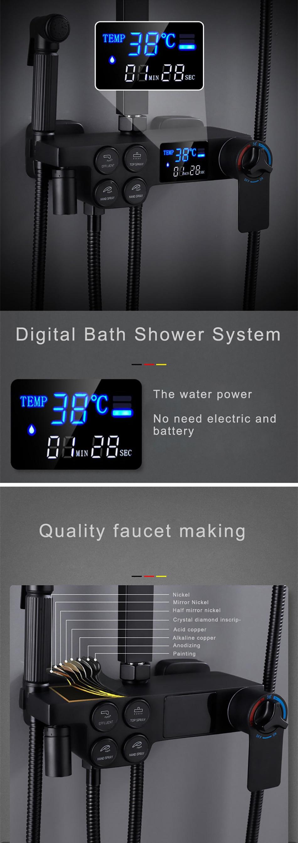 H8a9a61218e774d2cbb0f0691eb7e4ddct Hot and Cold Digital Shower Set Faucet Bathroom Shower System Black Gold Shower Faucet Square Shower Head Bath Shower System