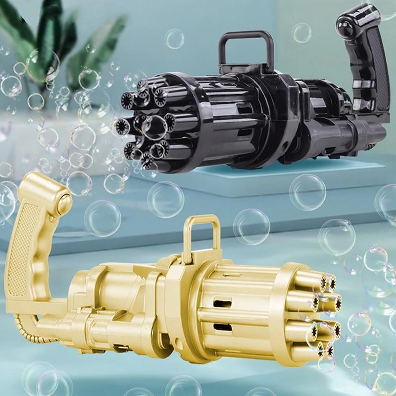Kids Automatic Gatling Bubble Gun Toys Wholesale Soap Water Bubble Machine 2-in-1 Electric Bubble Machine For Children Gift Toys