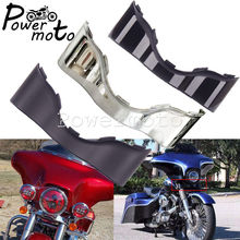 Black/Chrome Motorcycle Outer Fairing Skirt Batwing Lower Trim For  CVO Electra Street Glide Ultra Limited Touring 2014-Later