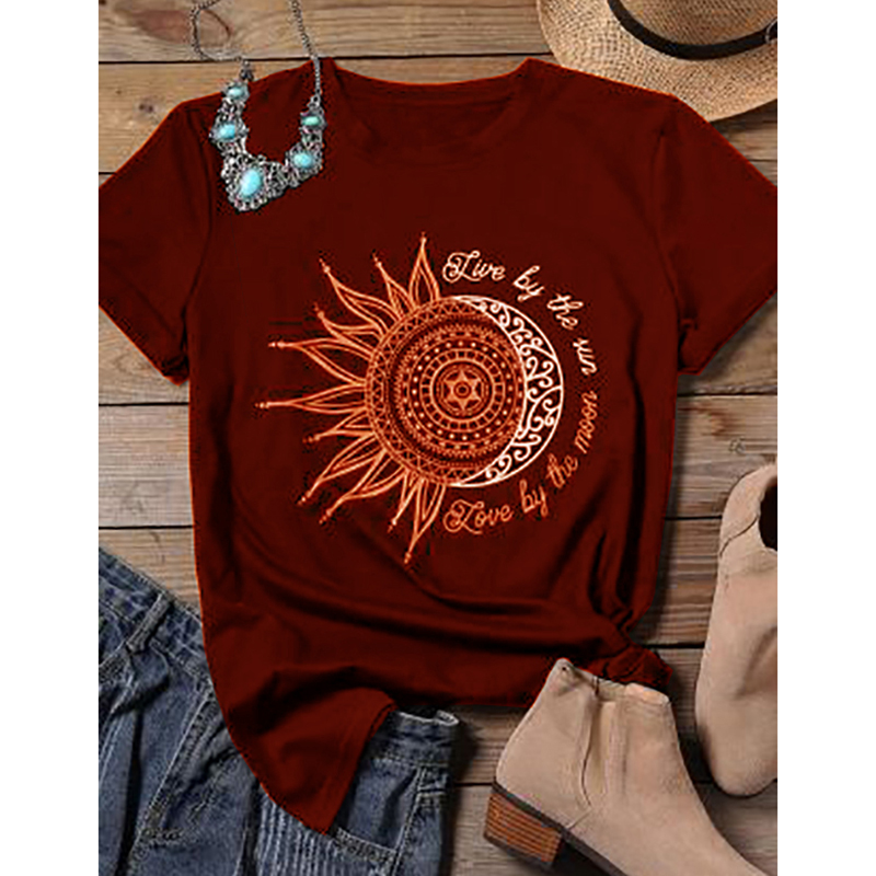 2020 women casual fashion t-shirt letter sun moon print loose o-neck short sleeve elastic stretched tshirt summer tops new 2
