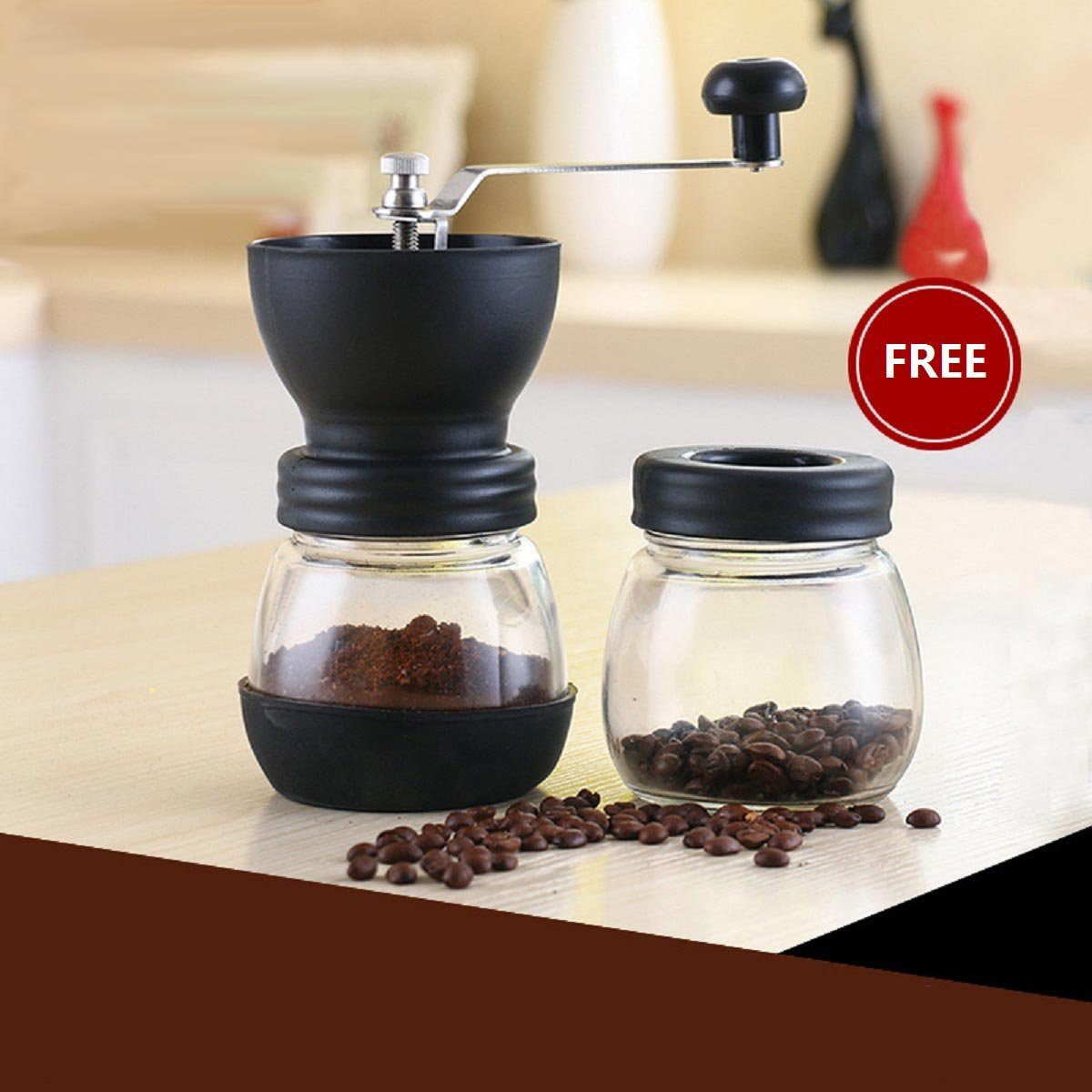 Yüksek kaliteli cam manuel kahve değirmeni depolama kavanoz ile yumuşak fırça konik seramik çapak sessiz ve taşınabilir
