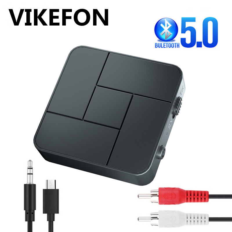 Bluetooth 5,0 Audio Receiver Transmitter 3,5mm AUX Jack RCA USB Dongle Stereo Wireless Adapter mit Mic Für Auto TV PC Kopfhörer
