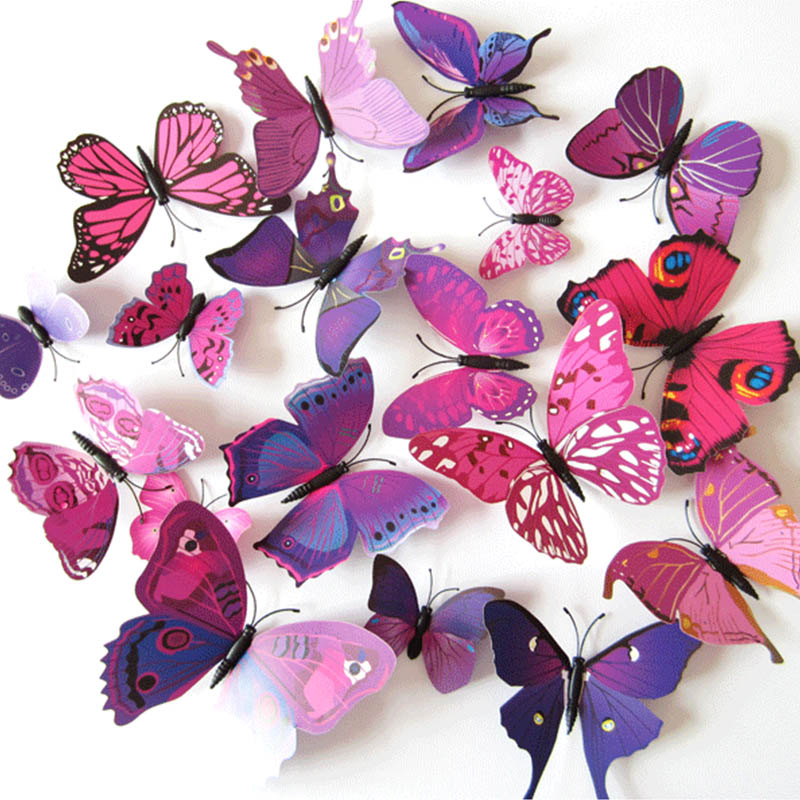 12Pcs/pack Simulation Butterflies Three-Dimensional Wall Sticker Wallpaper Home Decorations Fridge Magnet PVC Wall decals