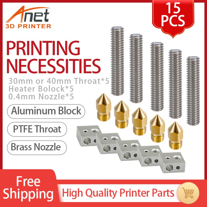 3D Printer Parts 15pcs 1.75mm Throat Tube+0.4mm Extruder Nozzle Print Heads +M6 Heater Block Hotend for Anet A8 A6 3D Printer