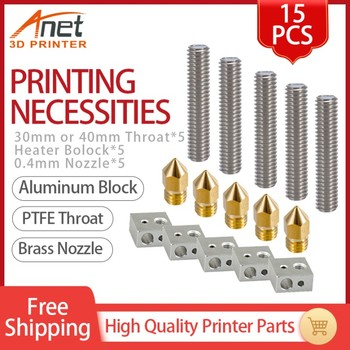3D Printer Parts 15pcs 1.75mm Throat Tube+0.4mm Extruder Nozzle Print Heads +M6 Heater Block Hotend for Anet A8 A6 - discount item  20% OFF Office Electronics