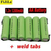 Aa bateria recarregável 1.2v 1200 mah nimh 14500 aa bateria com solda para diy elétrica razor dentição brinquedos bateria de segurança