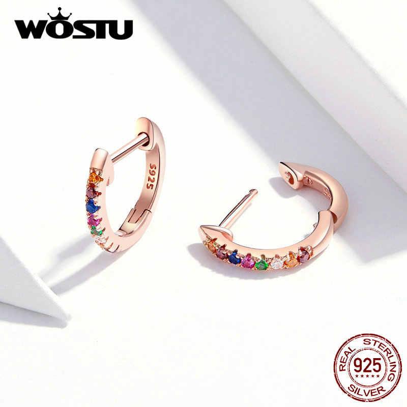 WOSTU Echt 925 Sterling Silber Bunte Zirkon Rose Gold Stud Ohrringe Für Frauen Hochzeit Kleine Ohrringe Schmuck Geschenk CQE721-C