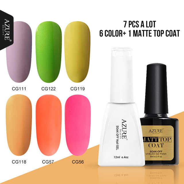 Azure Beauty Matte Top Coat Nail Gel Polish Kit Rendam Off Efek Matte Gel Cat Kuku Kit Semi Permanen Matte kuku Mantel Set