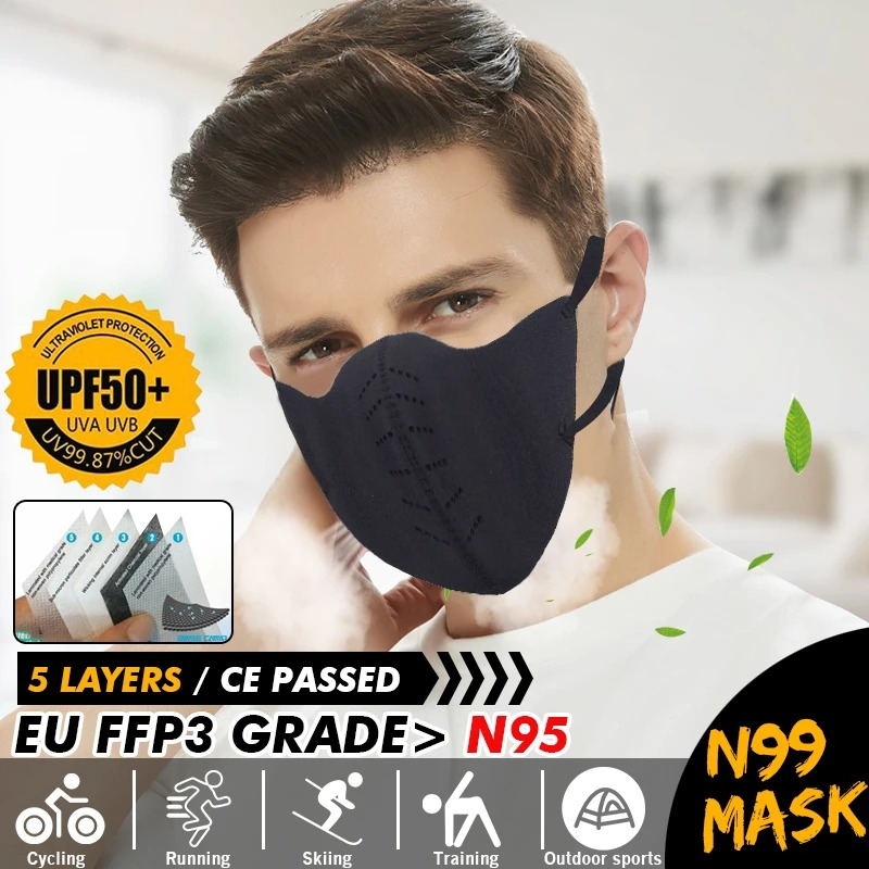 In Stock N99 FFP3 Face Mask Waterproof Dustproof PM2.5 Proof Anti Smog Adjustable Nose Clip Filter Mouth Mask Protection