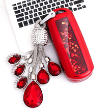 цена на For Mazda 2 3 5 6 8 CX3 CX4 CX5 CX7 CX9 M2 M3 M5 M6 GT Crystal chain  Funny Quicksand Soft TPU Key Case Cover Shell