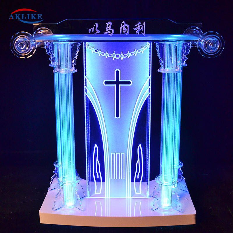 Modern Church Pulpitos Para Iglesias Walking Frame Pulpit Acrylic Victory Aklike Stand Digital Podium For Speech