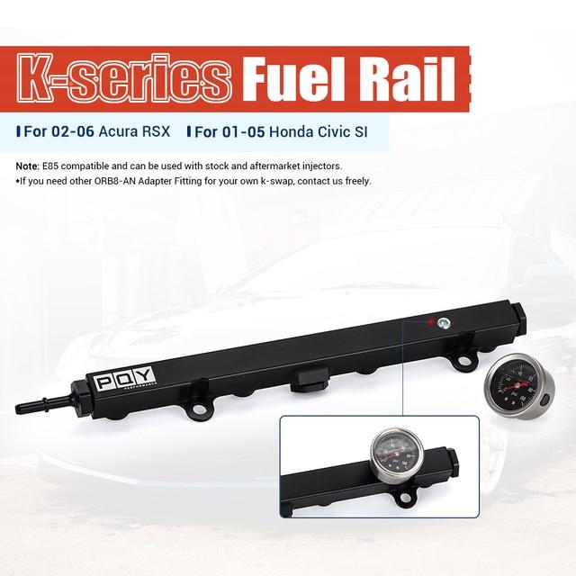 Aluminium K Series Heavy Fuel Rail Kit High Flow Injection Fuel Rail For Honda K20 K24 RSX Civic Si ,Integra EP3 With Oil Gauge 2