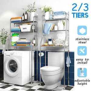 2/3Tier Stainless Steel Rack Toilet Cabinet Shelving Kitchen Washing Machine Rack Bathroom Space Saver Shelf Organizer Holder