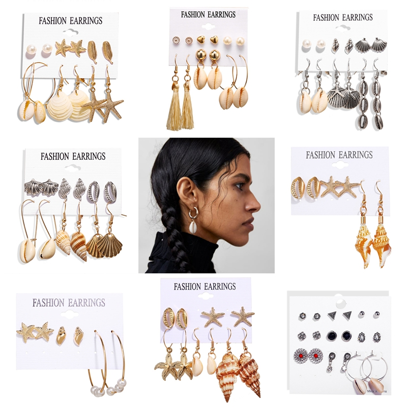 Ocean Beach Earrings Jewelry Creative Retro Gold Silver Shell Natural Scallop Earrings Set Beach Holiday Jewelry Earrings VE819