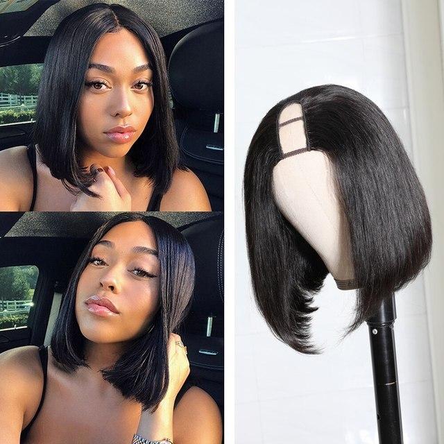 Bob ludzki włos U część peruka prosto bezklejowy brazylijski dziewiczy ludzki peruki włosy Ali Julia włosy mogą być trwałe i farbować krótkie peruki Upart