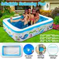 1,5 м/2,1 м/2,6 м домашний надувной бассейн, большой семейный бассейн для детей, бассейн для взрослых, складная ПВХ Ванна, открытый детский бассей...