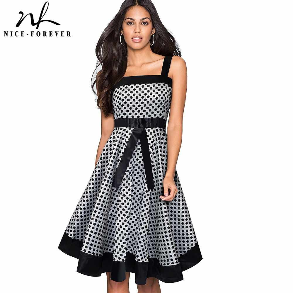 NICE-FOREVER ฤดูร้อน Retro Polka Dots ชุด Patchwork Club PARTY Flare Swing Dress 202