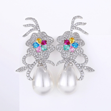 VERY GIRL Luxury Vintage Flower AAA Cubic Zircon Big Pearl Dangling Earrings Long for Women Wedding