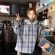 2020 Spring Womens Clothes Hoodies Korean Version Harajuku Stitching Plaid Sweatshirt Women Turtlene