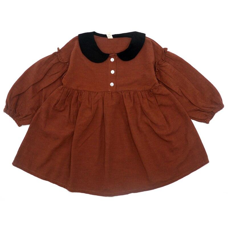 2019 Autumn Toddler Girl Dress Linen Cotton Long Sleeve Children Dresses for Girls Fashion