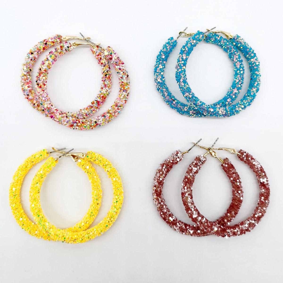 Fashion Crystal Hoop Earrings Glitter Sequins Jewelry Geometric Charm Design Round Bling Rhinestone Women Hoop Jewelry Earring