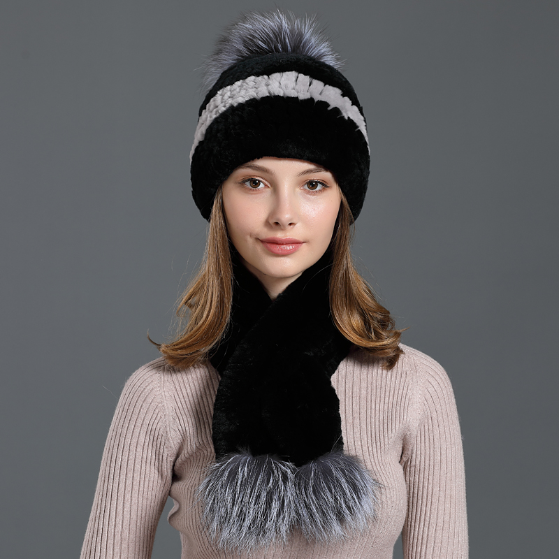 Genuine Rex Rabbit Fur Hat&Scarf Set Russian Women Winter Scarves Beanies New Warm Soft Pompom Natural Fur Hat Caps Female