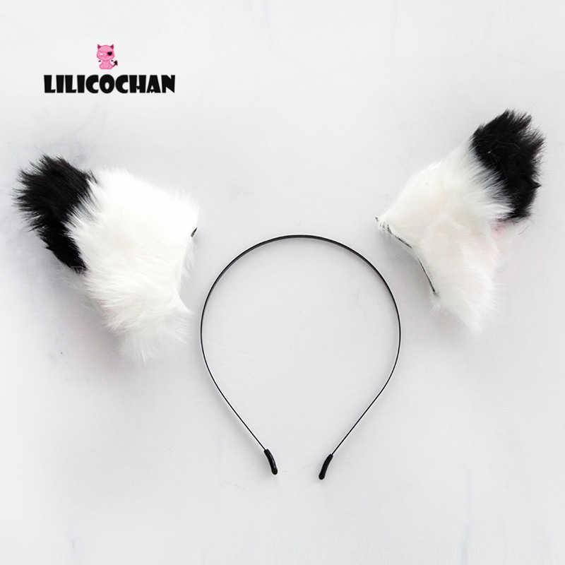 1 adet 2019 yeni kedi tilki kulaklar uzun kürk saç bandı Anime Cosplay tilki saç çember peluş kürk saç tokası parti kostüm