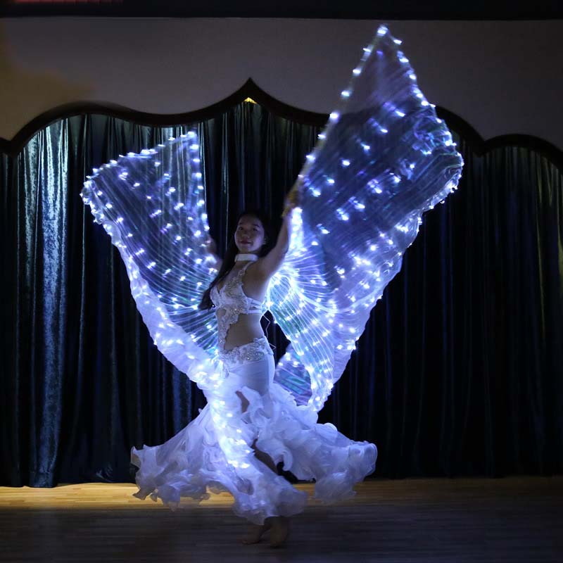 Womens Belly Dance Twinkling White Lights LED Wings Fairy Glowing Indian Dancing Accessories Belly dance light show Glittering