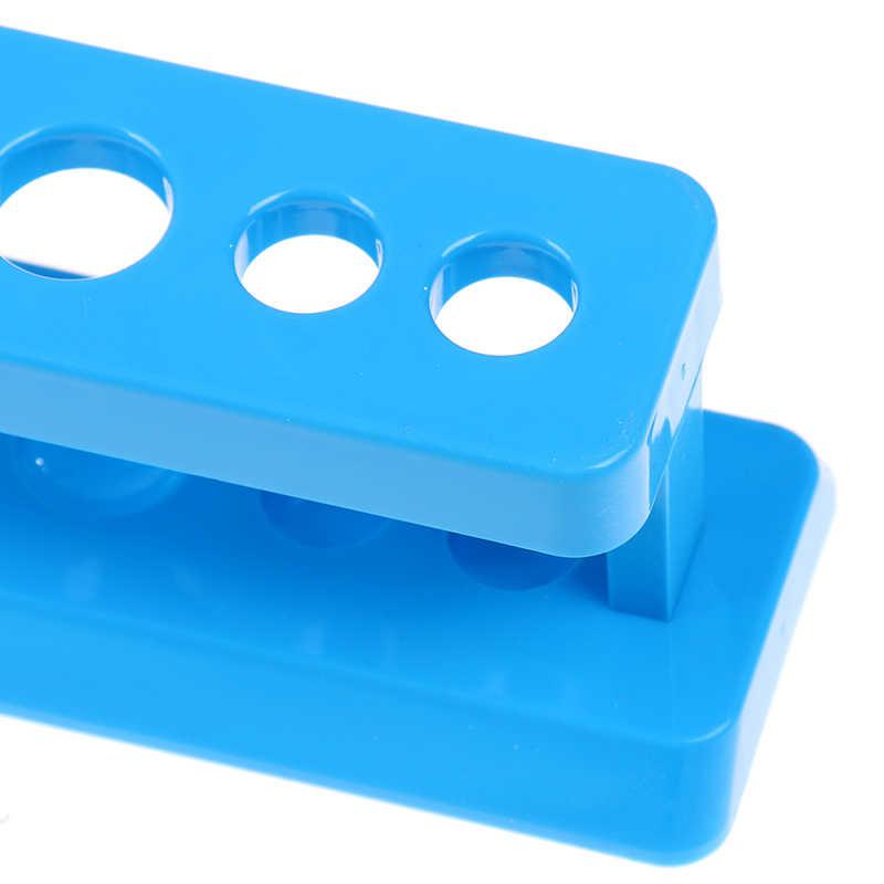 Kunststoff Blau Reagenzglas Rack 6 Löcher Stand Labor Reagenzglas Ständer Regal Schule Liefert 1PC