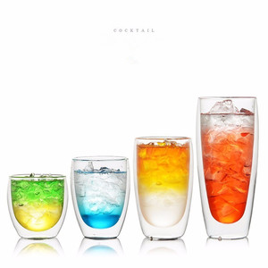 Double Wall Glass Egg Shape Cappuccino Latte Coffee Mug Cold / Hot Insulation Anti-scalding Milk Cola Cup Tea Drinking Tumbler