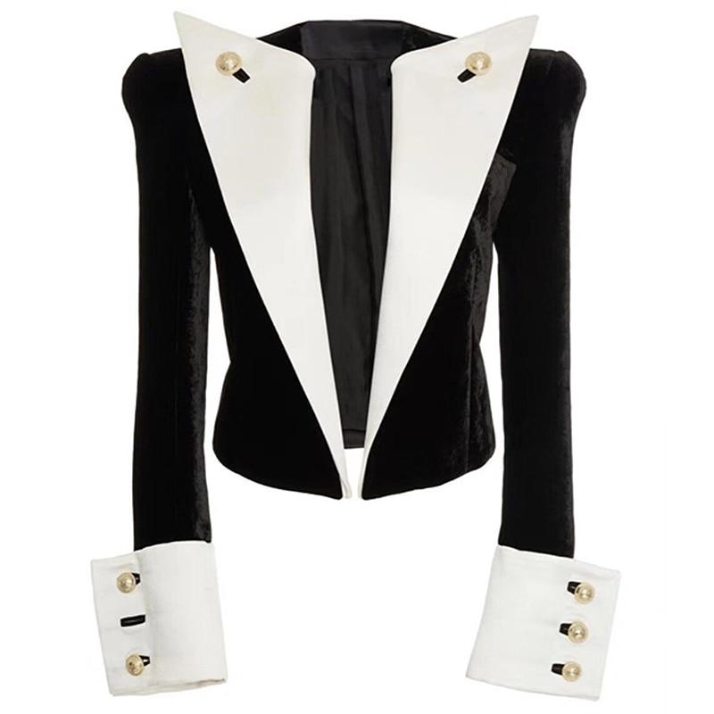 HIGH STREET 2020 Newest Stylish Designer Jacket Women's Lion Buttons Color Block Patchwork Velvet Short Blazer