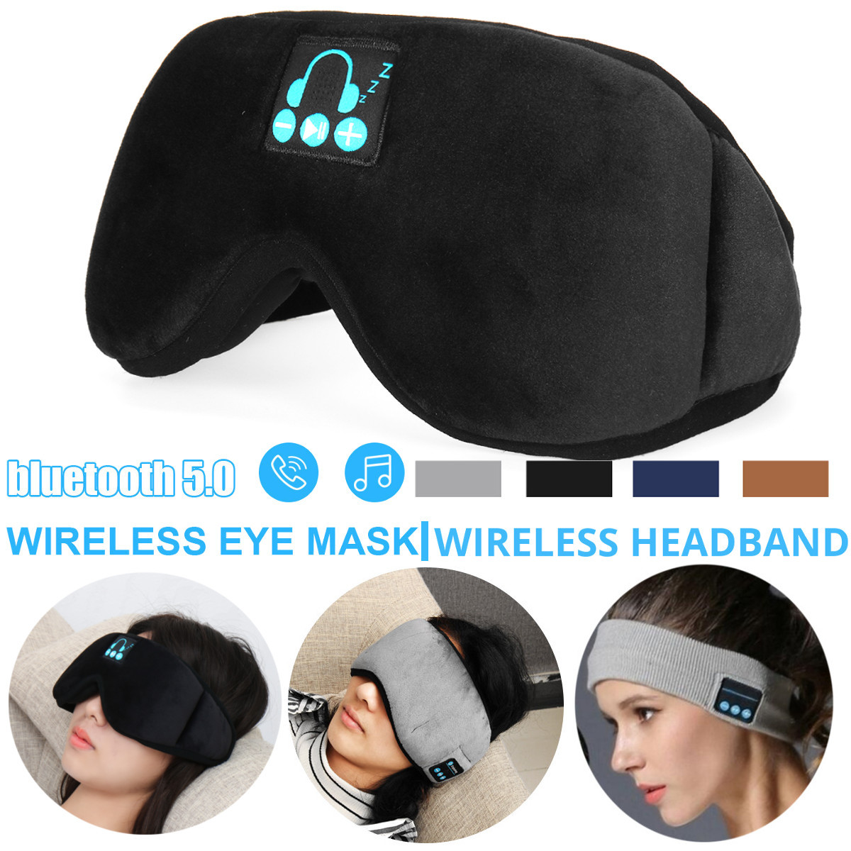 Sleep Headphone Bluetooth Sleep Mask Wireless Sleep Eye Mask Earphone Travel Eye Shades with Built-in Speakers Mic Handsfree mic