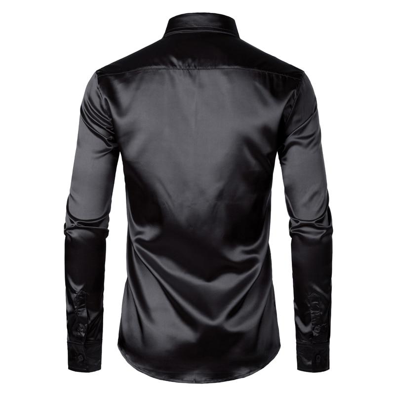 Men's Black Satin Luxury Dress Shirts 2019 Silk Smooth Men Tuxedo Shirt Slim Fit Wedding Party Prom Casual Shirt Chemise Homme 2
