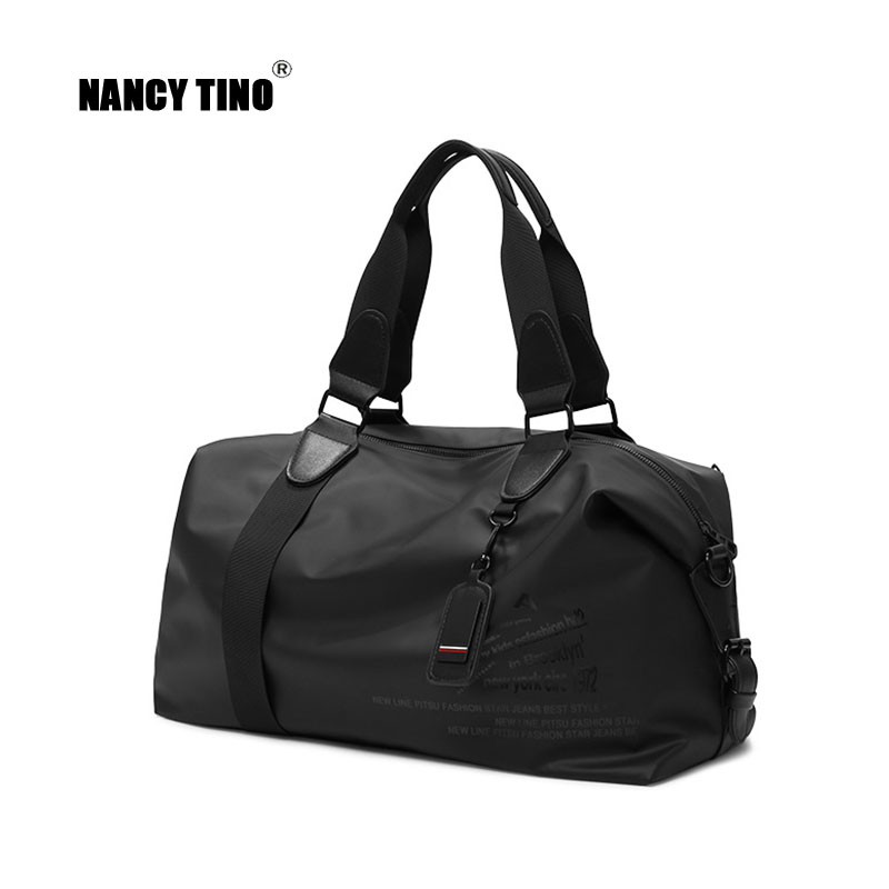 NANCY TINO Travel Bag Men Foldable Outdoor Bags Women Weekend Fitness Ladies Yoga Bag Dry/Wet Separation PU Leather