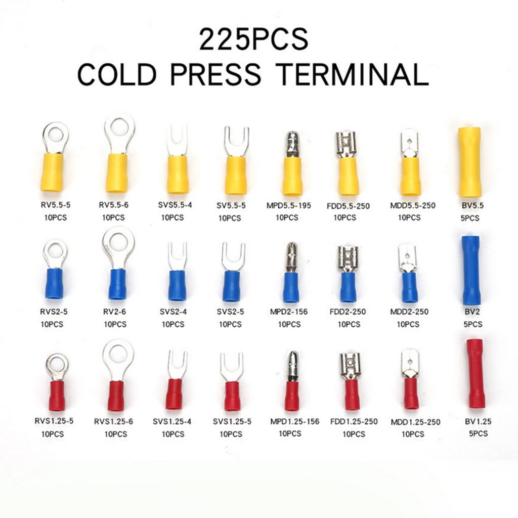 Набор термоусадочных проводов с 24 значениями 225 шт.-электрические соединители изолированные обжимные морские автомобильные клеммы