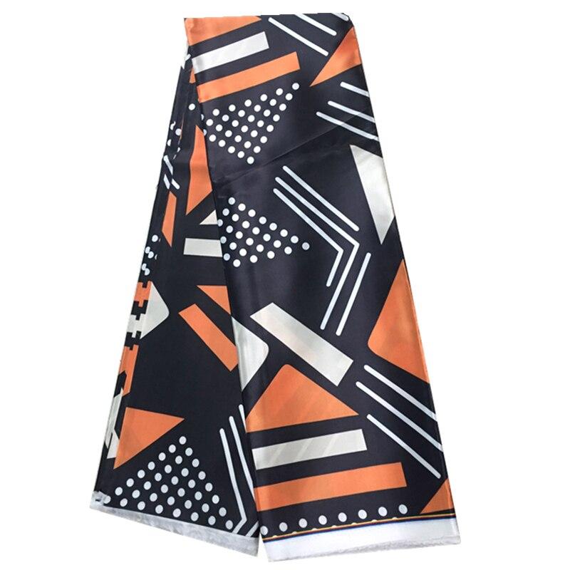 Cera de Seda Tecido de Impressão Tecidos para Vestido Africano Metros Nigeriano Ancara Padrão Cetim Tecido Preto & Laranja 6