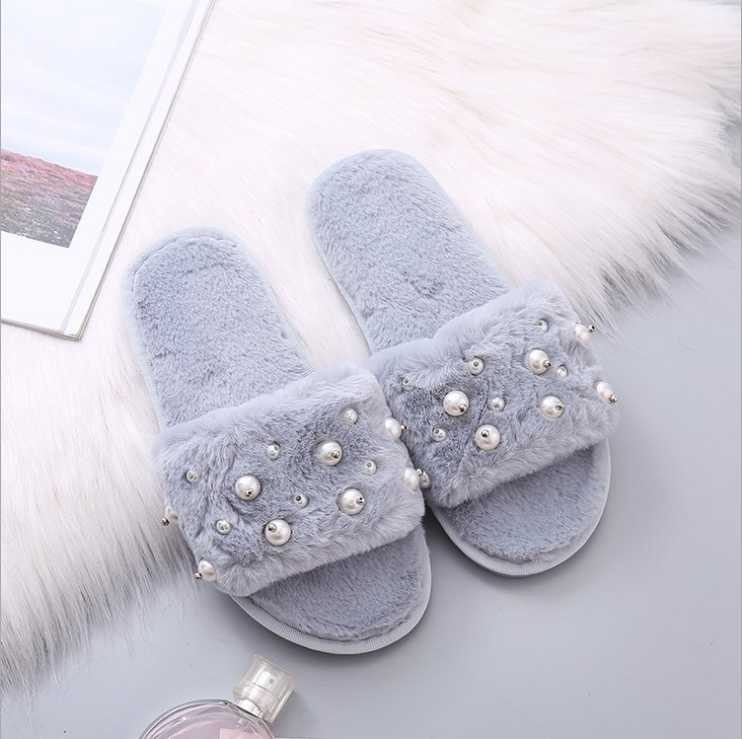 2018 autumn and winter new fur slippers fashion pearl flat bottom non-slip warm home cotton slippers women's shoes
